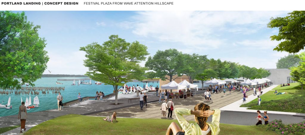 "A rendering of a plaza and ""wave attenuation landscape"" in the proposed ""Portland Landing"" park. The site is currently an unpaved parking lot."
