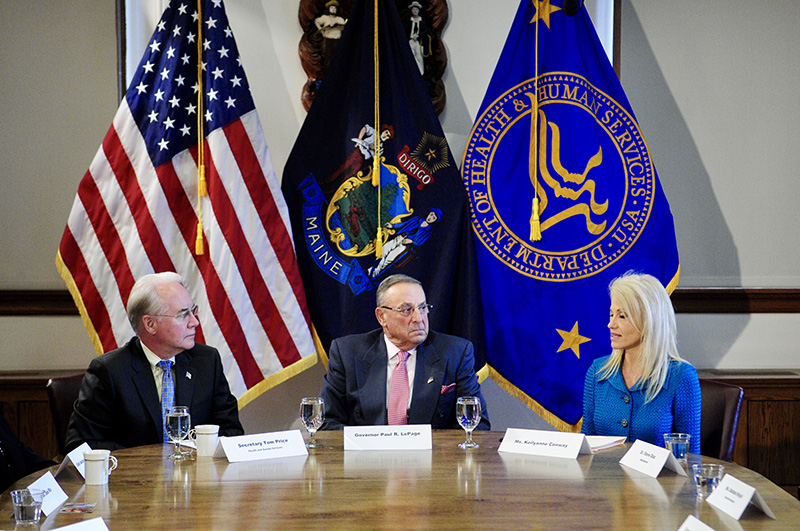 "Secretary of Health and Human Services Tom Price, Gov. Paul LePage and Kellyanne Conway take part in Wednesday's ""listening session."""