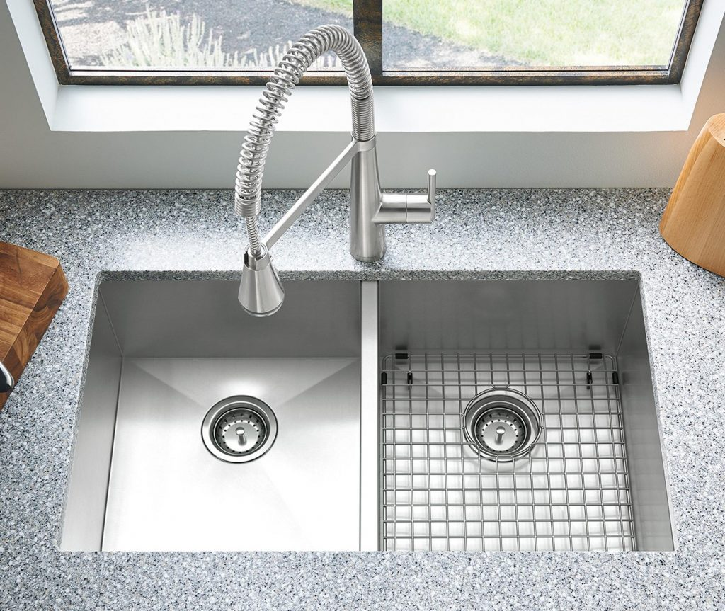 Showcasing sleek, geometric styling and impressive functionality, the Edgewater semi-pro kitchen faucet with single-handle operation.