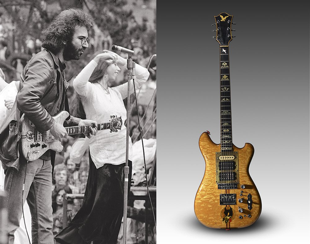 "Jerry Garcia plays his famous ""Wolf"" guitar at a concert in San Francisco's Golden Gate Park in the mid-1970s. Philanthropist, musician and film director Daniel Pritzker bought the guitar in 2002 at Guernsey's auction house for $790,000. This time the guitar could fetch up to $1 million."