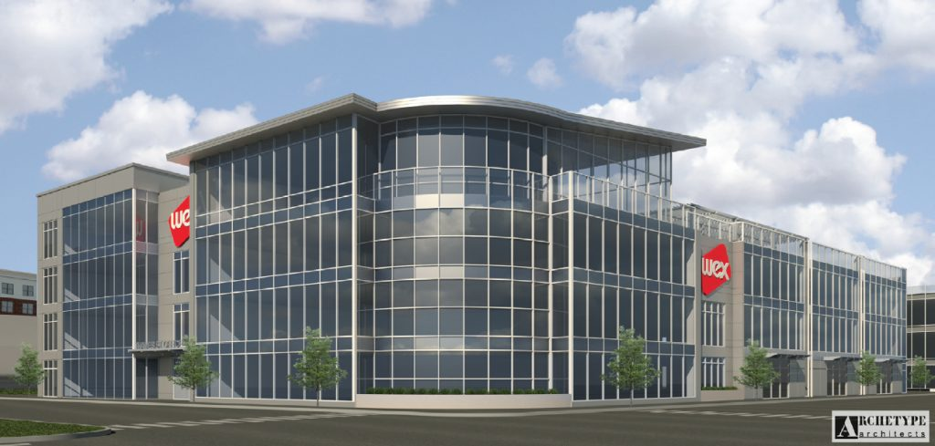 The Wex headquarters would be a four-story, 100,000-square-foot building with 10,000 square feet of retail space on the first floor.