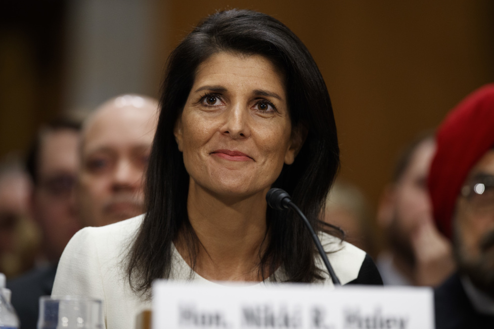 United Nations Ambassador Nikki Haley at her confirmation hearing in January.