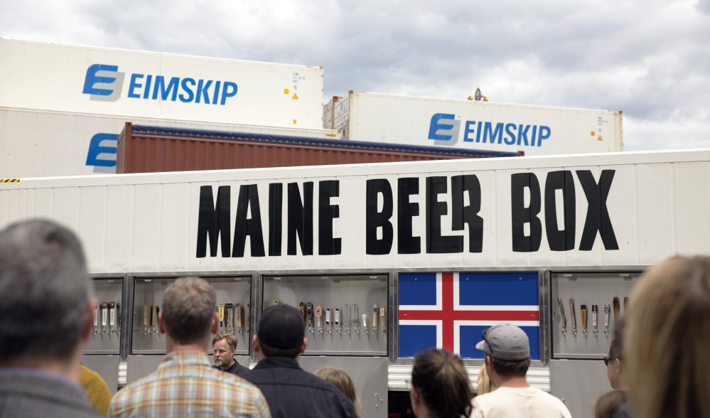 Dozens of brewers gathered at the International Marine Terminal in Portland in June 2017 for the send-off of the Maine Beer Box – a shipping container full of Maine-made brews bound for a beer festival in Iceland. The custom-fabricated container has more than 70 taps.