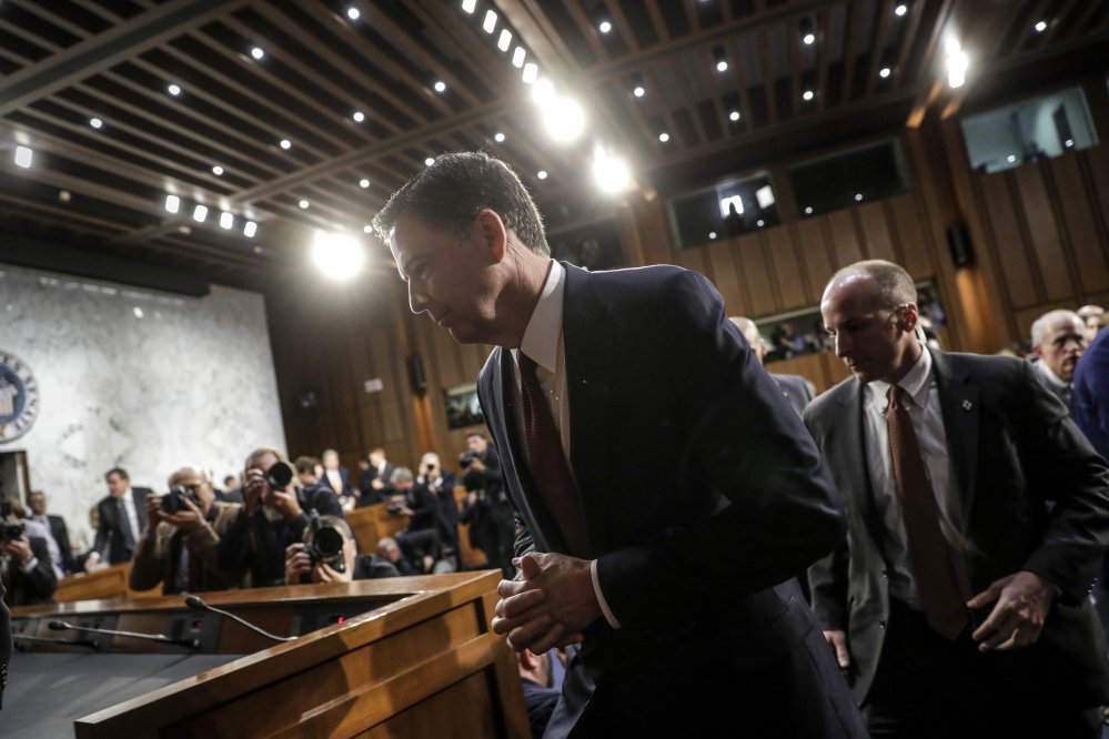 Fired FBI director James Comey leaves Thursday's hearing with the Senate Intelligence Committee after detailing his interactions with President Trump before his firing May 9. Comey's testimony prompted calls for an expansion of ongoing probes into Russia's role in the presidential election.