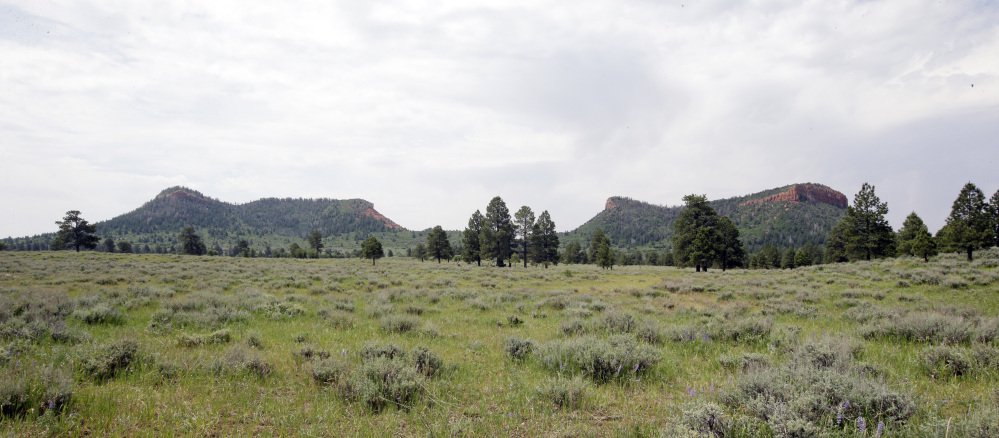 "The ""Bears Ears"" buttes near Blanding, Utah, shown in 2016, give the national monument there its name. Interior Secretary Ryan Zinke is recommending that the new national monument be reduced in size."