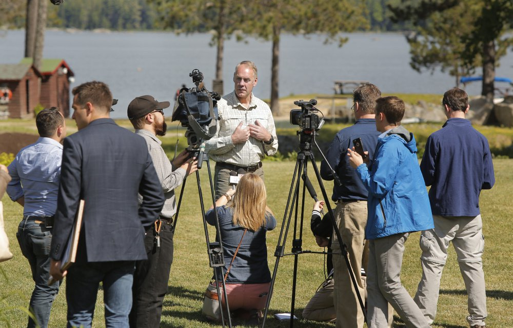 Interior Secretary Ryan Zinke speaks with the media after breakfast with the Katahdin Area Chamber of Commerce and Millinocket Town Council at Twin Pines Camps in Township 2, Range 8. During his Maine tour, Zinke made repeated statements about the beauty of the Katahdin region and people's passion for the land.