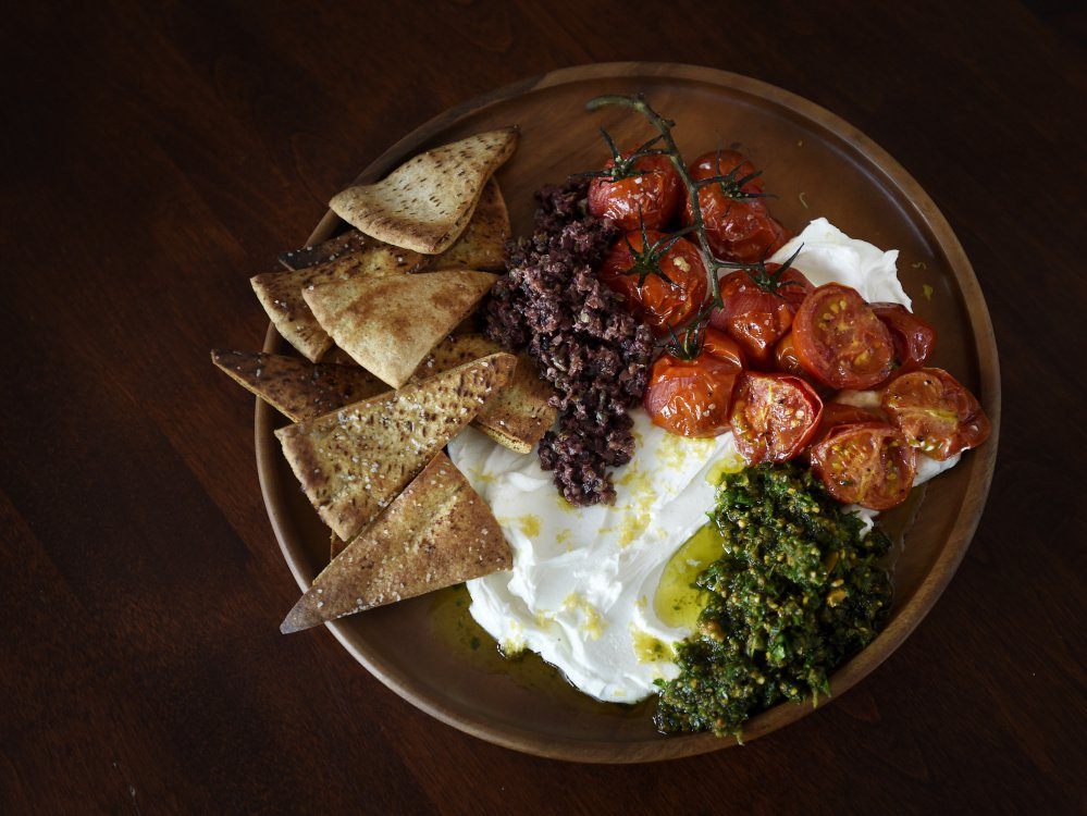 The labneh on this appetizing plate began as yogurt that was then salted and strained.