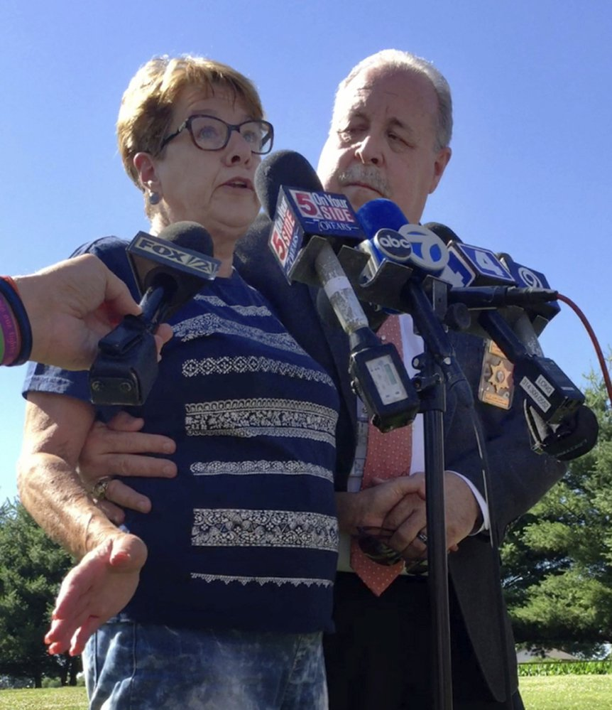 Suzanne Hodgkinson talks to reporters about her husband, James Hodgkinson, on Thursday in Belleville, Ill. She said she thought her husband went to Washington because he wanted to work on tax policy.