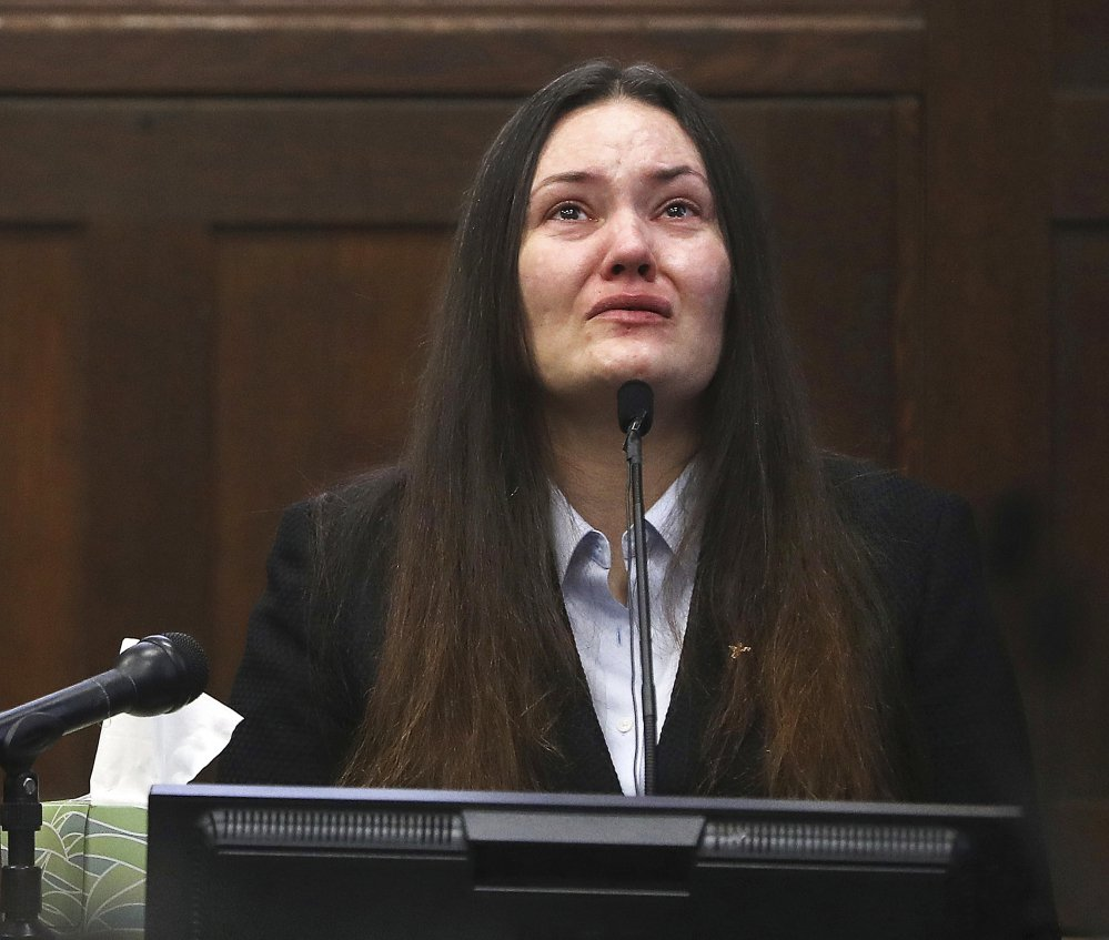 Rachelle Bond testifies in Suffolk Superior Court in Boston this month. Her former boyfriend, Michael McCarthy, was convicted Monday of murder in the 2015 killing of her daughter, Bella Bond.