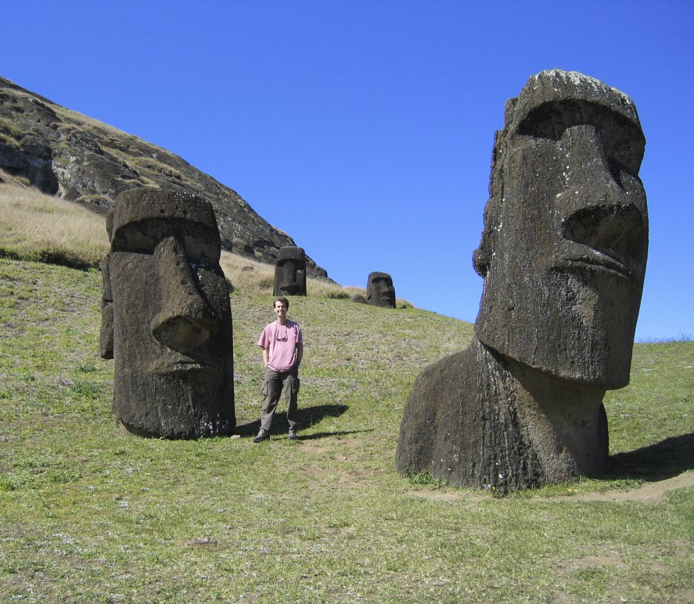 "Mike Scanlin, owner of Born to Sell, a business software company based in Las Vegas, visits Easter Island, 2,200 miles off  Chile, where cellphone and internet service were often unavailable. ""It's worth maybe losing a bit of business to accomplish the items on your bucket list,"" he said."