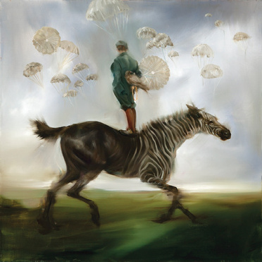 "Sarah McRae Morton, ""Jesses for Future Wooden Skies,"" oil on linen."