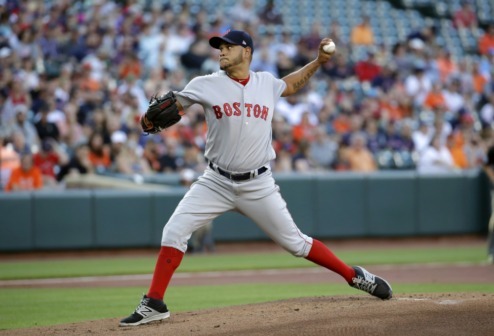 Boston Red Sox starting pitcher Eduardo Rodriguez throws to the Orioles during the first inning Thursday.