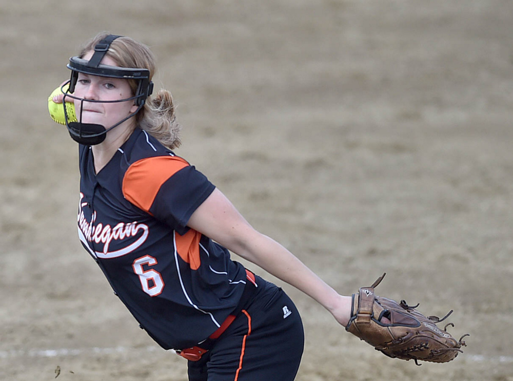 Skowhegan pitcher Sydney Ames delivers a pitch to an Edward Little High School batter during the Kennebec Valley Athletic Conference Class A title game Friday.