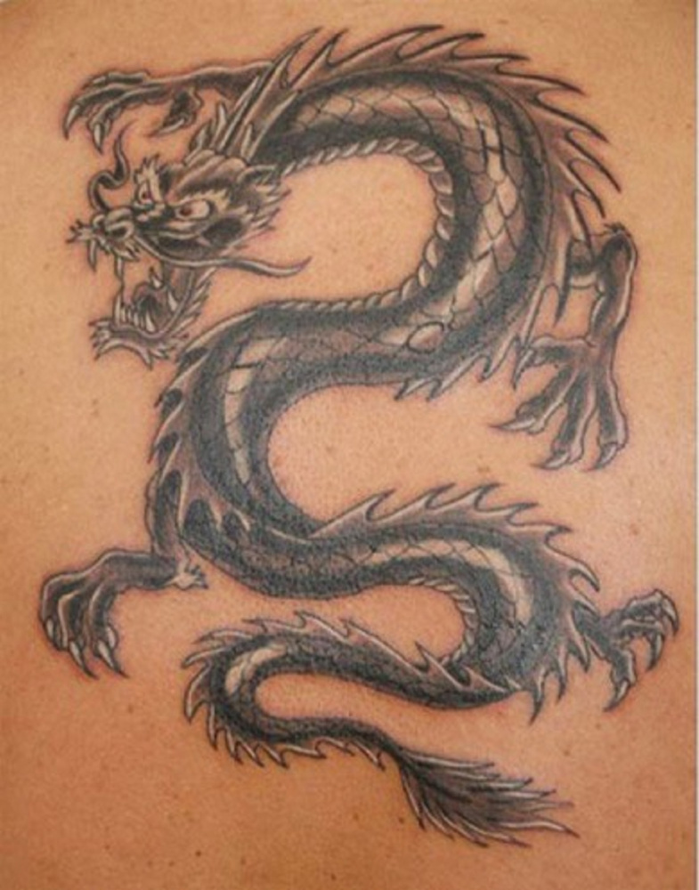 Early-19th century dragon tattoos like this symbolized a completed voyage to the China Sea.