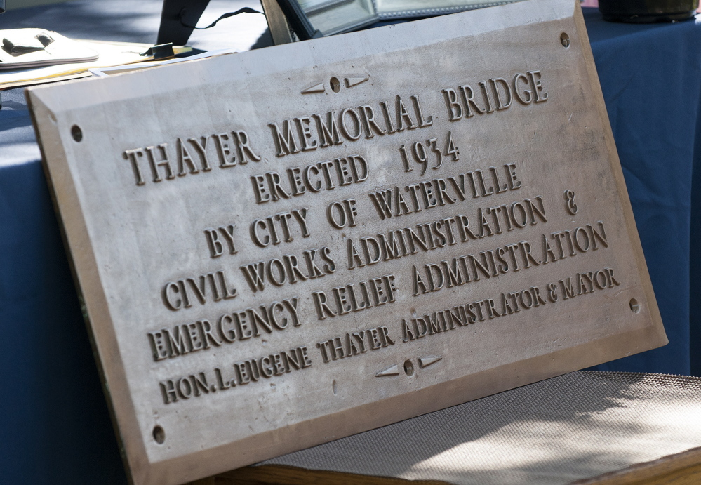The Thayer Memorial Bridge bronze plaque.