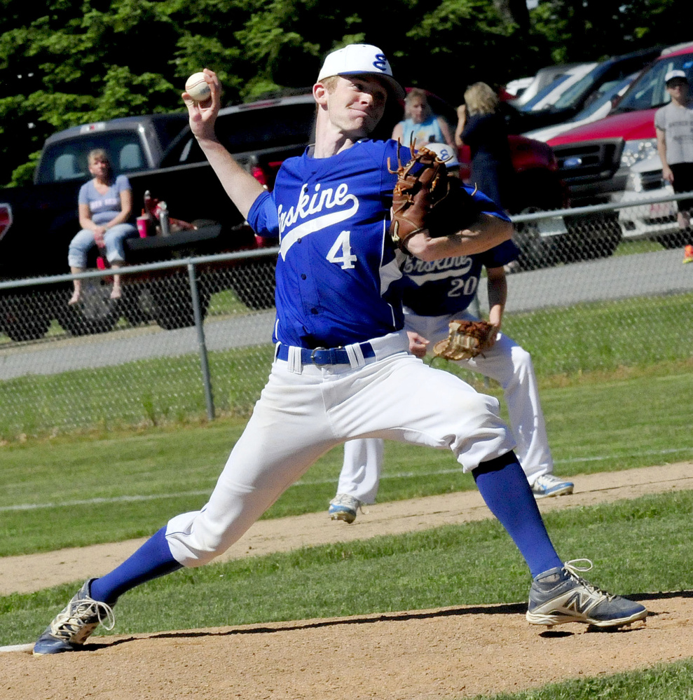 Erskine pitcher Nate Howard throws during a Class B North quarterfinal game against Mt. Desert Island in South China.