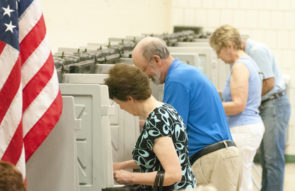 There was a steady turnout of voters around noontime Tuesday at the Winthrop Town Office, where voters rejected the school budget.
