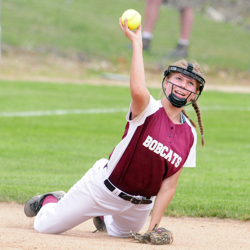 Richmond shortstop Caitlin Kendrick tosses a ball during the Class D South regional final Tuesday at St. Joseph's College in Standish.