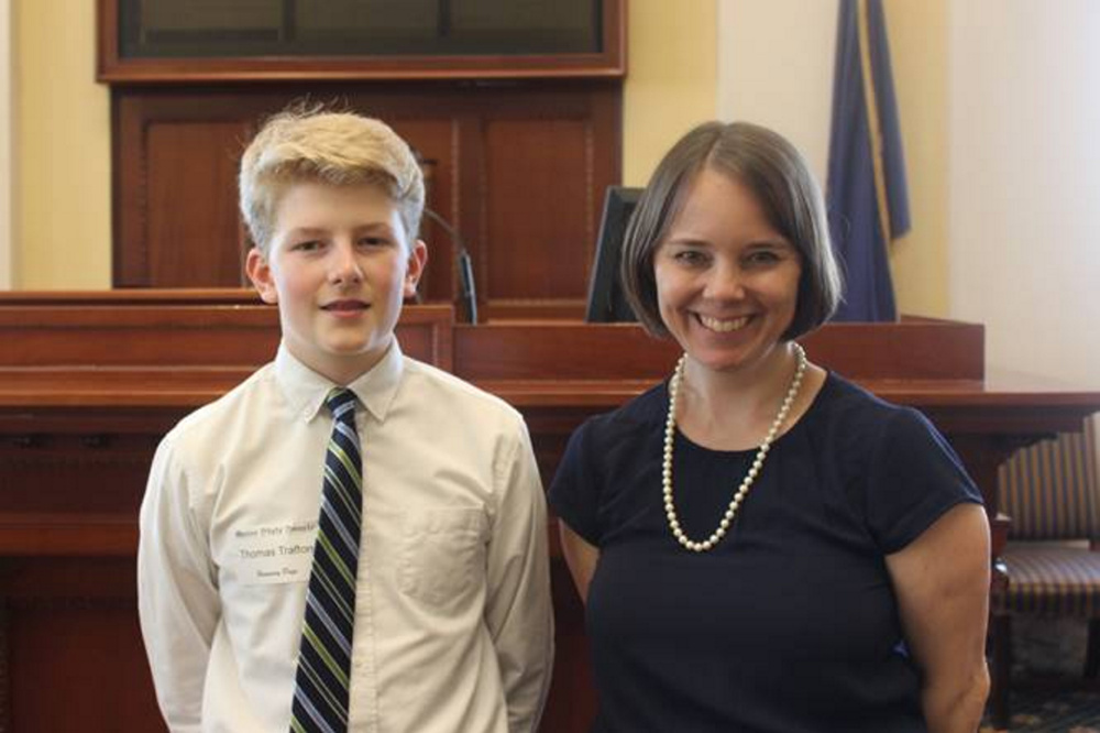 Thomas Trafton, left, a student at Hall-Dale Middle School, served as an honorary page May 18 in the Maine Senate. Trafton was a guest of Sen. Shenna Bellows, D-Manchester.