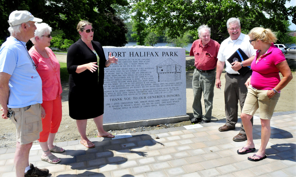 Fort Halifax Days committee members discuss the event Monday that will take place at Fort Halifax Park in Winslow this Saturday. From left are Fred Clark, Virginia Sturies, Amanda McCaslin, Elery Keene, Town Manager Michael Heavener and Karen Rancourt-Thomas.