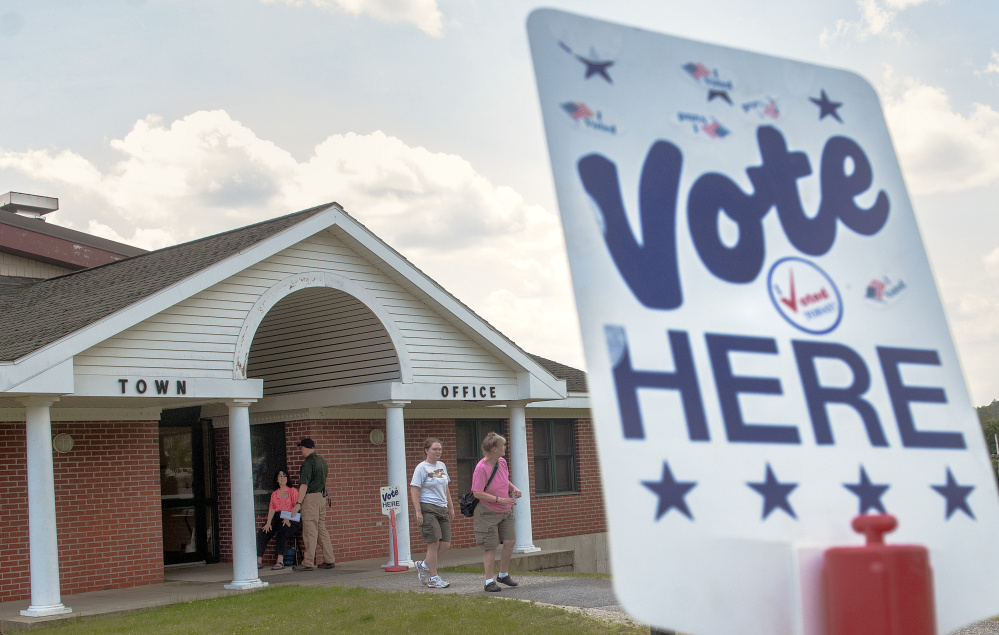 There was a steady turnout of voters around noontime on June 13 at the Winthrop Town Office.