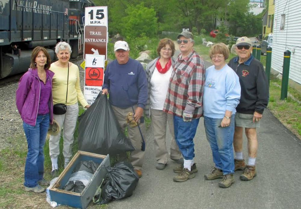 Jay-Livermore Falls Lions Club members joined New England Lions working on Lions Clubs Interantional World Service Day. Lions members participating, from left, included Donna Greeley, Kathleen Szostek, Errol Stevens, Eileen Tweedie, Bob Tweedie, Connie Godfrey and Al Godfrey. Missing from the photo are Tia Knapp, Elaine Nichols and Jackie Puneo.
