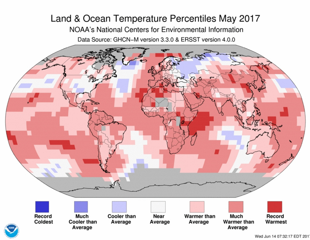 Land and ocean percentiles, May 2017.