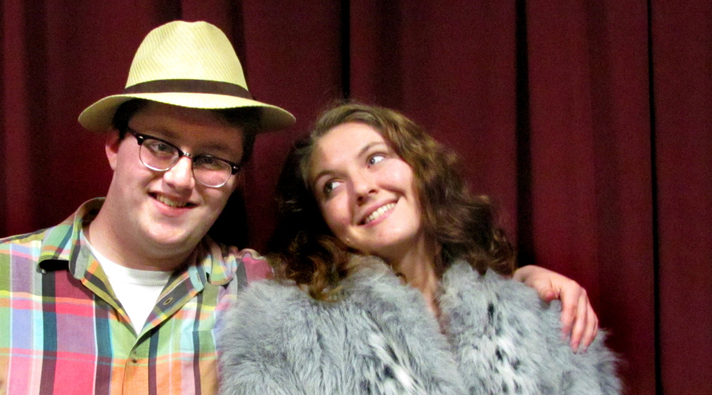 "Noah Bonnell, left, and Rebecca Dow, (as Gambler ""guy"" Sky Masterson and Mission ""doll"" Sarah Brown) lead the cast of ""Guys and Dolls"" in the RFA Production in Rangeley."