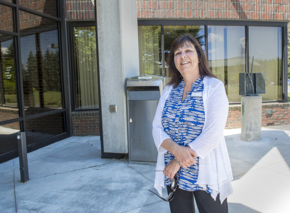 Amy Line stands outside the office space in the Bennett D. Katz Library on Wednesday that will become a new veterans center at the University of Maine at Augusta.