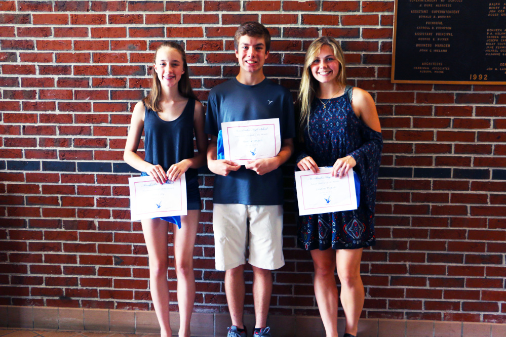 Messalonskee High School June Students of the Month, from left, are Eve Lilly, Hunter Smart and Lauren Pickett.