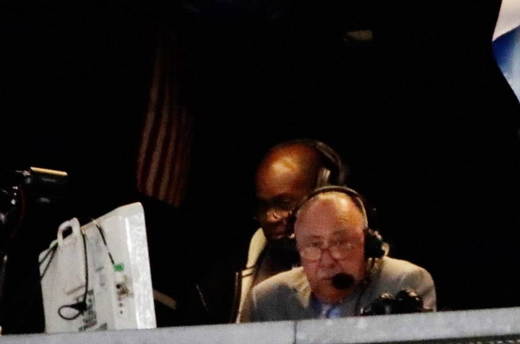 Boston Red Sox broadcaster Jerry Remy works during the seventh inning of a baseball game Tuesday between the New York Yankees and the Red Sox. Remy said pitchers such as Yankees ace Masahiro Tanaka shouldn't be allowed translators on the mound.