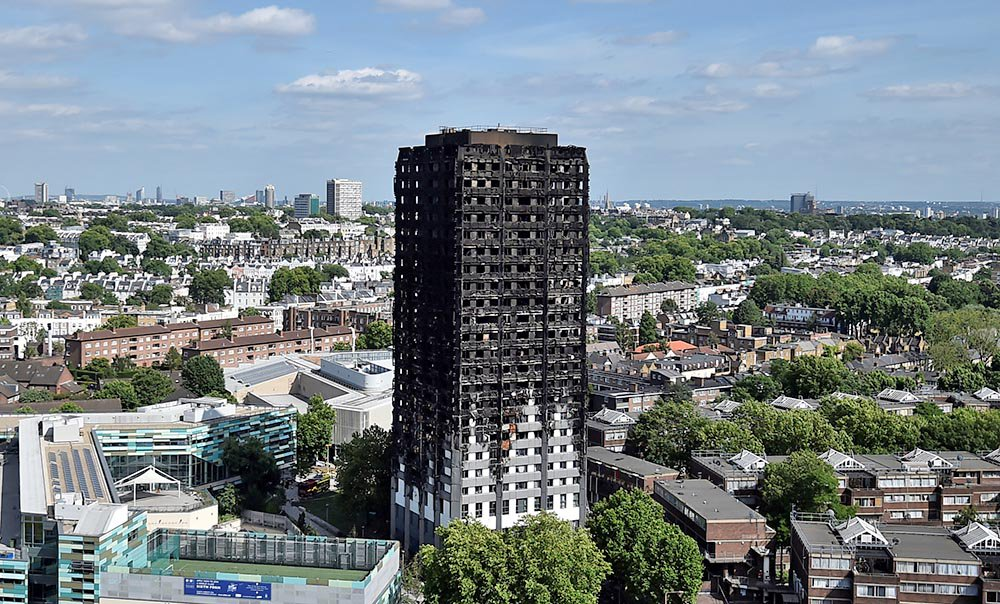 The Grenfell Tower block  which was destroyed by  fire, in north Kensington, West London.