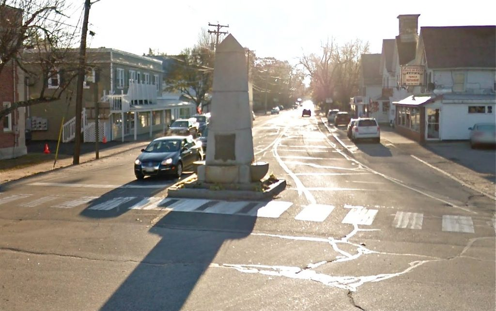 The John Stevens Monument at Main and Portland streets in Fryeburg was erected by the early settler's' grandson in 1902. According to the Maine Historical Society, It is made of white Hallowell granite, resting on a base 7-8 feet square and 10 feet thick.