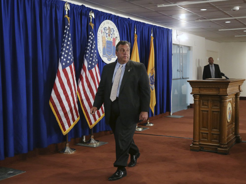 New Jersey Gov. Chris Christie walks from the podium following a news conference on Monday.