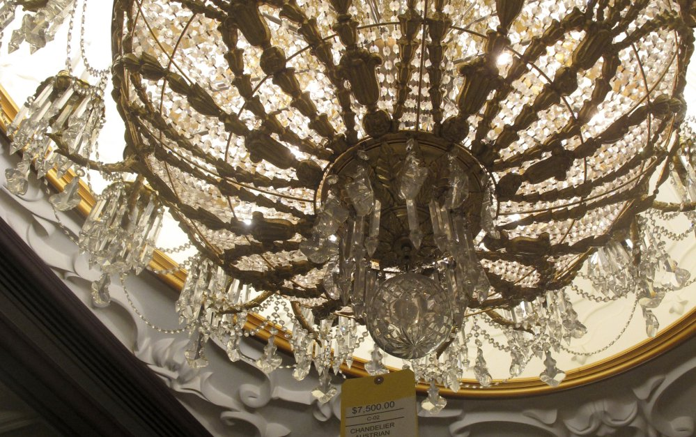 A crystal chandelier at the former Trump Taj Mahal casino in Atlantic City was selling for $7,500 on Thursday, marked down from an original price of $40,000.