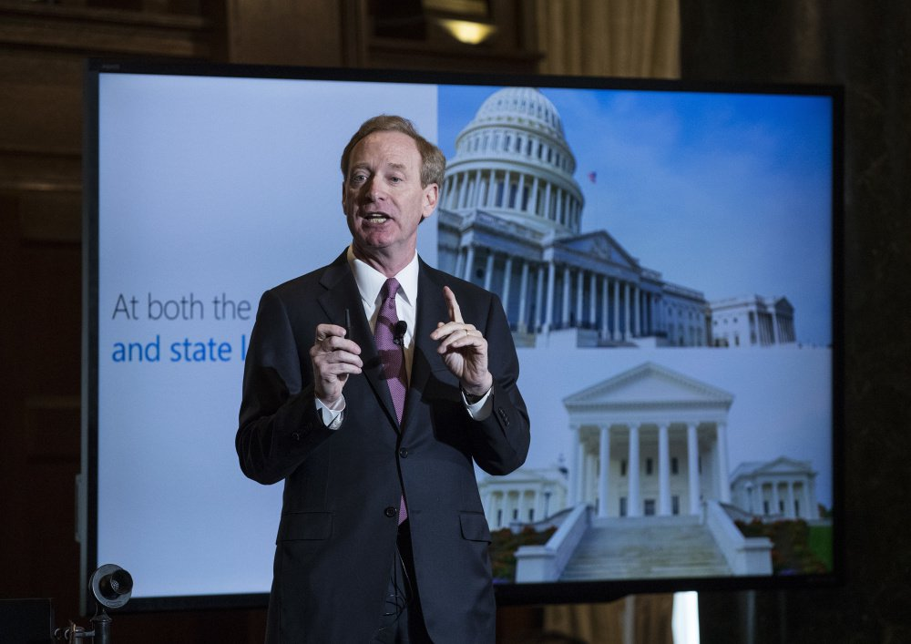 "Microsoft President and Chief Legal Officer Brad Smith speaks in Washington on Tuesday about Microsoft's project to bring broadband internet access to rural parts of the U.S. ""The key now is to stimulate private sector investment,"" he said."