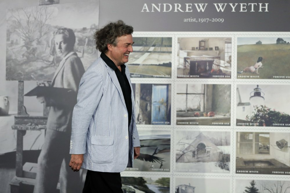 Artist Jaime Wyeth smiles during a First-Day-of-Issue dedication ceremony for stamps featuring the work of his father, Andrew Wyeth at the Brandywine River Museum of Art on Wednesday.