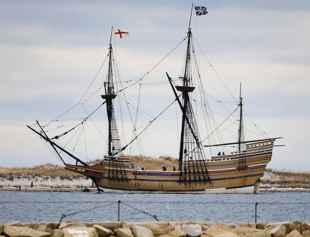 The Mayflower II, a replica of the original ship in  Plymouth Harbor.