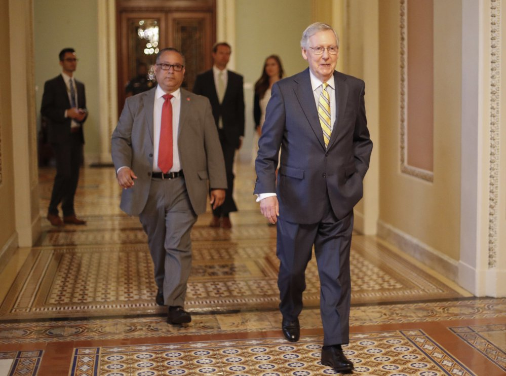 Senate Majority Leader Mitch McConnell of Kentucky appears to have tweaked the Republicans' health care bill to get votes from the far right, but health insurance companies are calling it