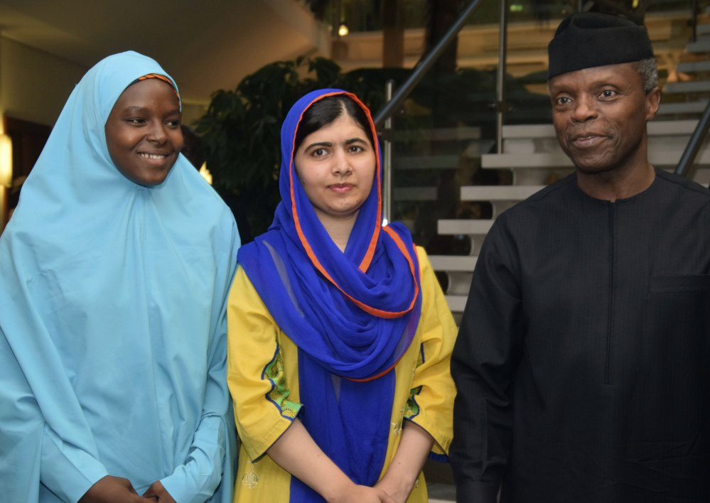 Malala Yousafzai, center, meets Monday with activist Amina Yusuf and  Nigeria's Acting President Yemi Osinbajo in Abuja, Nigeria. Associated Press/ Azeez Akunleyan