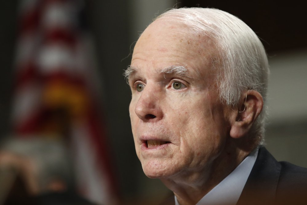 Senate Armed Services Committee Chairman Sen. John McCain, R-Ariz., shown in June, is reviewing his treatment options after being diagnosed with brain cancer.