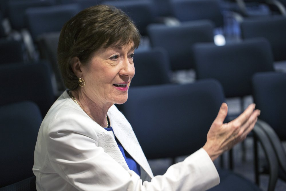 "U.S. Sen. Susan Collins, R-Maine, speaking in Scarborough on Friday, said of the investigation being conducted by special counsel Robert Mueller, ""What the president should do is not say another word and let it go forward."""