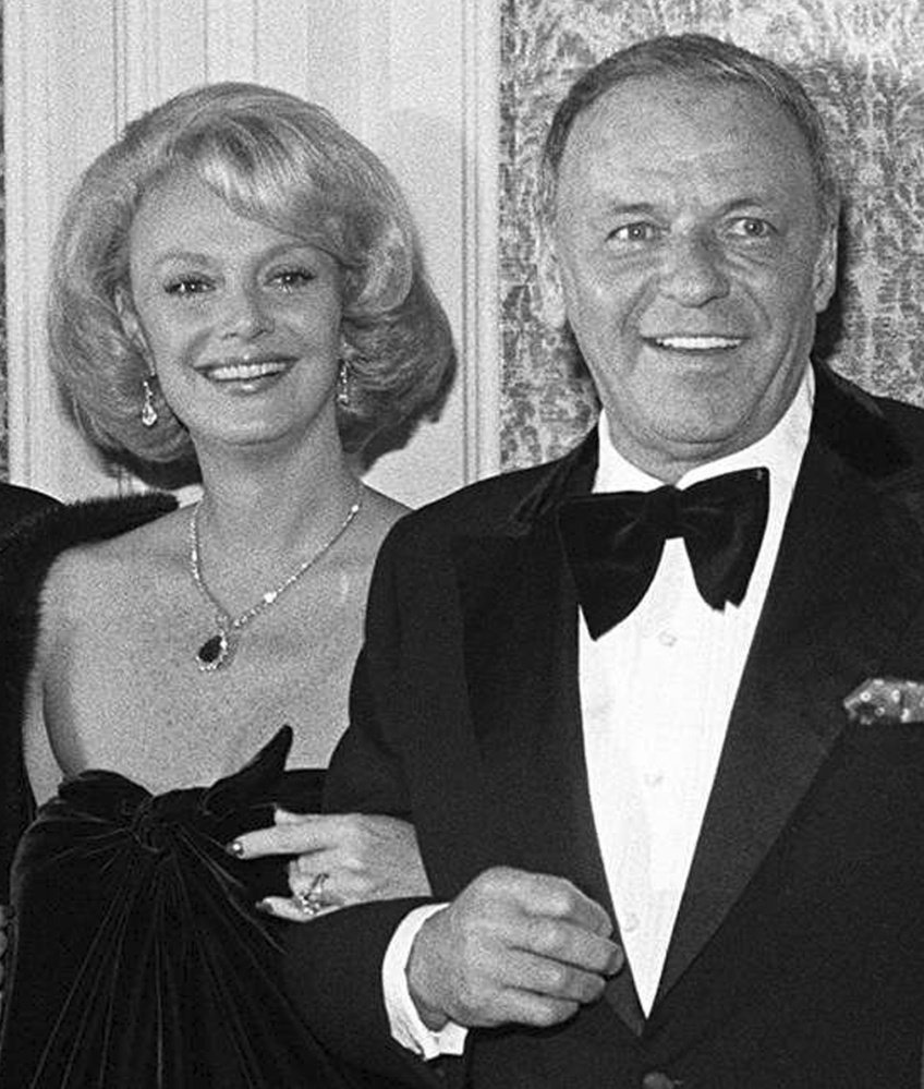 Barbara Sinatra poses with her third husband, Frank Sinatra, in 1976. The singer's fourth wife, she was married to him for 22 years.