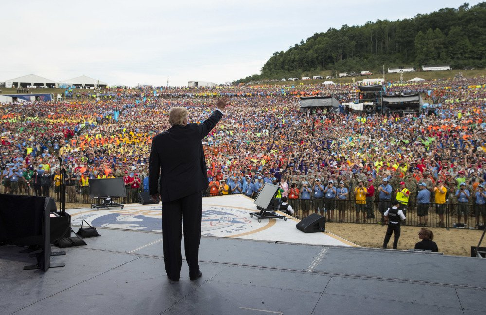 President Trump waves to the crowd Monday after speaking at the 2017 National Scout Jamboree in Glen Jean, W.Va. On Thursday, Chief Scout Executive Michael Surbaugh released a statement apologizing to members of the scouting community who were offended by the aggressive political rhetoric in the president's speech.
