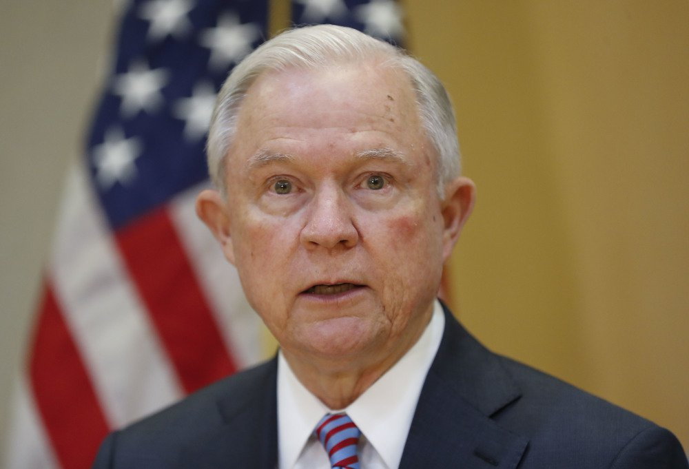 U.S. Attorney General Jeff Sessions speaks during a meeting with El Salvador Attorney General Douglas Melendez Ruiz in San Salvador, El Salvador, on Thursday.