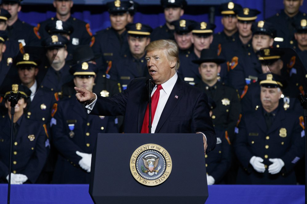 On Friday in Brentwood, N.Y., President Trump told members of law enforcement that they should feel free to leave a suspect's head unprotected when placing them in a police vehicle.