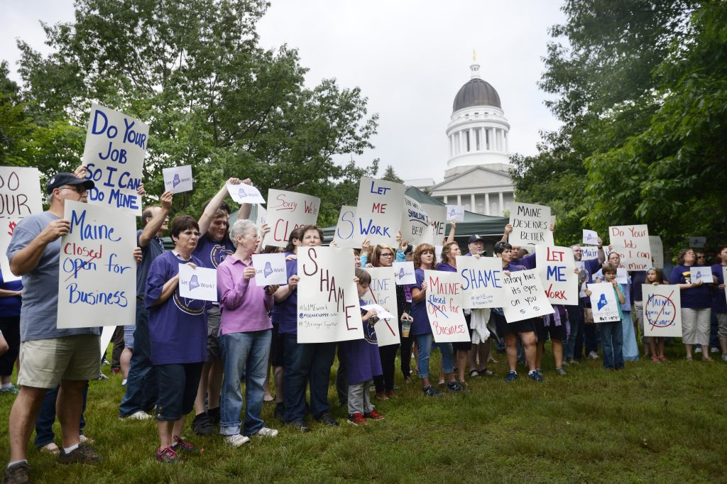 More than 150 state employees came out to attend the protest before the legislature went back to work.