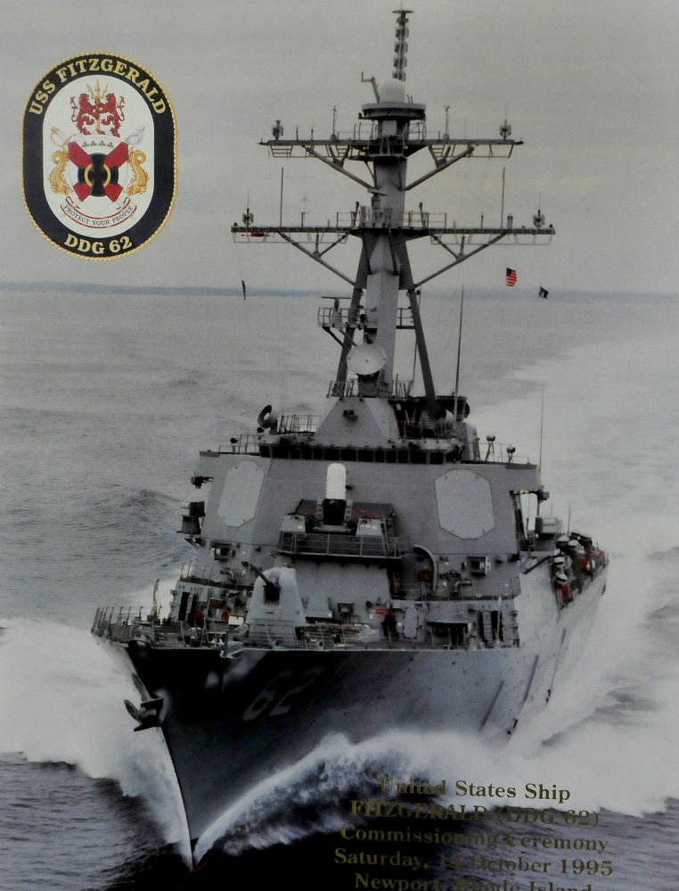 A photo of a recent photograph of the Arleigh-Burke class destroyer USS Fitzgerald, named after Vietnam War veteran Bill Fitzgerald. The vessel was seriously damaged after a collision with a cargo ship earlier this month off the coast of Japan.