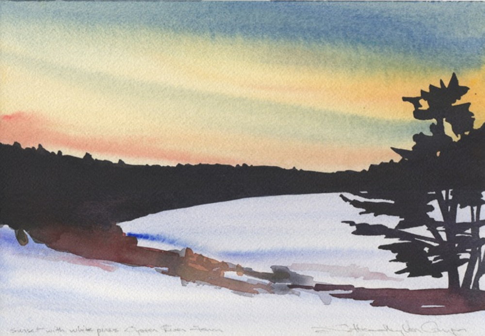 "Susan Van Campen's ""Sunset with White Pines,"" watercolor, 13.5 by 16.5 inches."