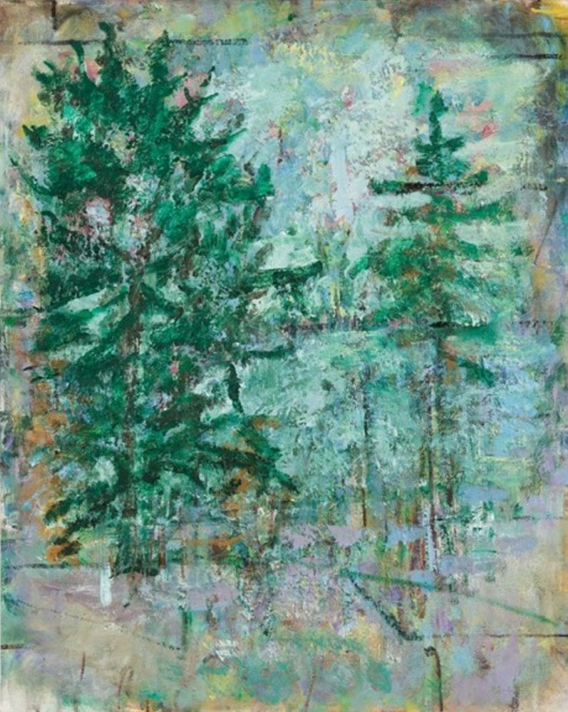 "Frances Hynes' ""Evergreens,"" oil on linen, 30 by 24 inches."